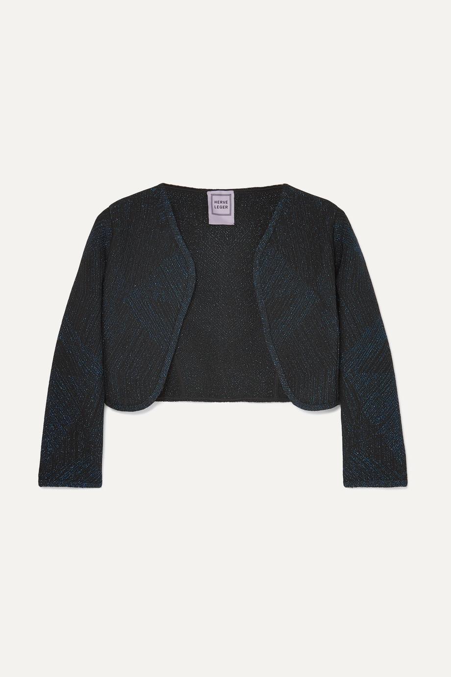 Hervé Léger Cropped metallic jacquard-knit jacket