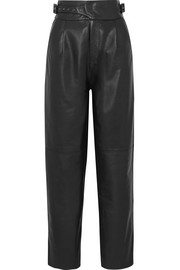 Indiana leather straight-leg pants