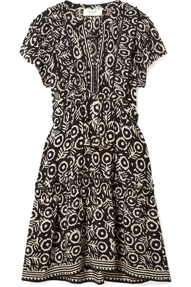 Emi Ruffled Pintucked Printed Voile Dress in Black