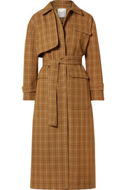 Poirot checked cotton-blend twill trench coat