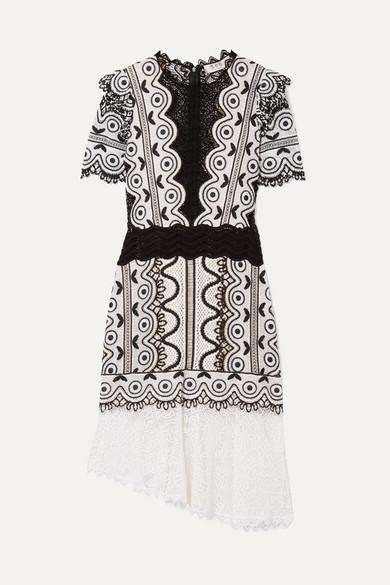 SEA Lola Asymmetric Cotton-Blend Guipure Lace Dress in Cream