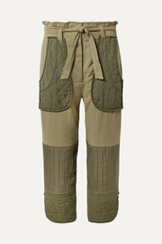 O'Keeffe cropped cotton-twill and quilted canvas tapered pants