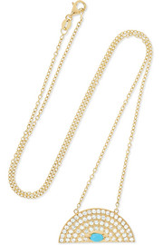 Andrea Fohrman Rainbow medium 18-karat gold, diamond and turquoise necklace