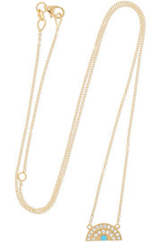 Andrea Fohrman Small Rainbow 18-karat gold, diamond and turquoise necklace