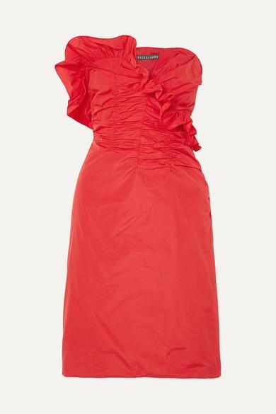 ALEXA CHUNG Alexachung - Ruffled Taffeta Dress - Womens - Red