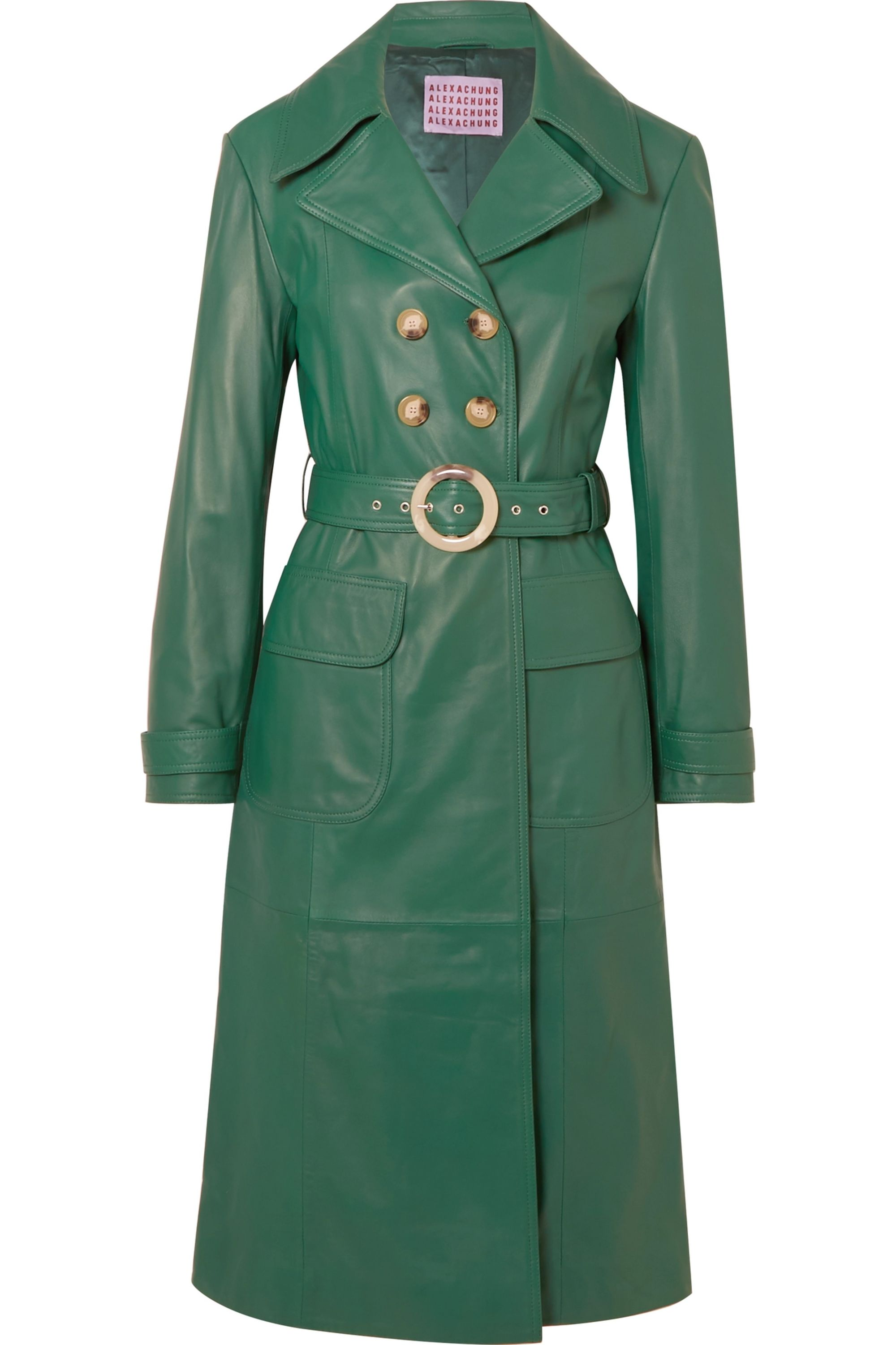 ALEXACHUNG Belted leather trench coat