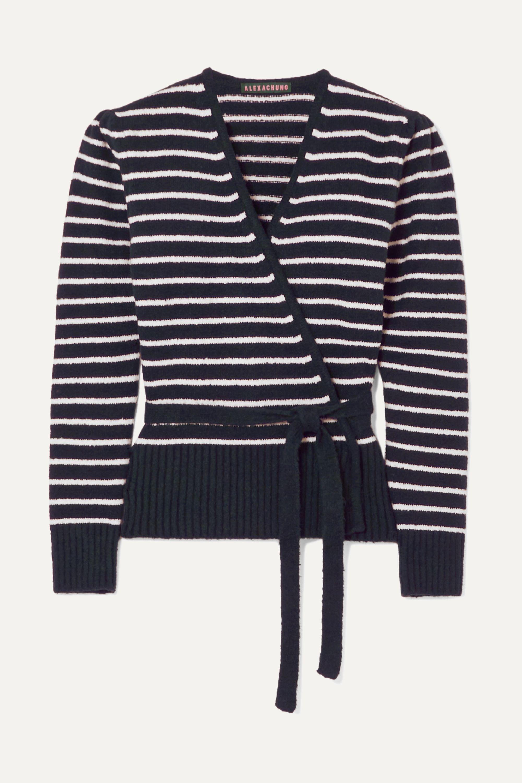 Navy Striped brushed cotton-blend cardigan | ALEXACHUNG | NET-A-PORTER