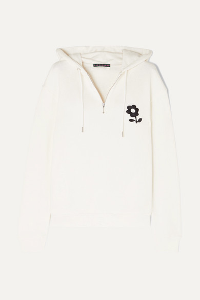 ALEXACHUNG | ALEXACHUNG - Embroidered Cotton-jersey Hoodie - Off-white | Goxip