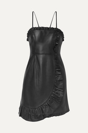 Wrap-effect ruffled leather mini dress