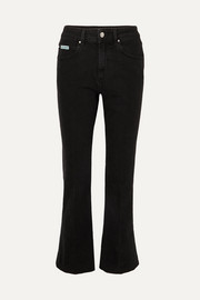 ALEXACHUNG Cropped high-rise flared jeans