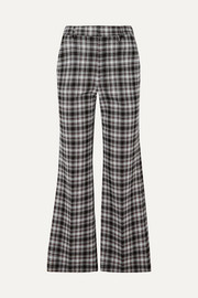 Checked woven bootcut pants