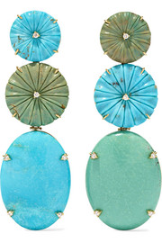 Casa Castro 18-karat gold, turquoise and diamond earrings