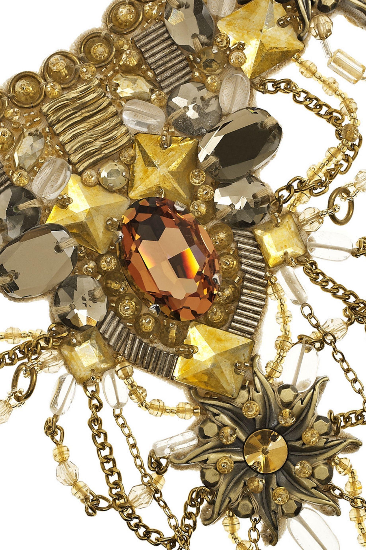 Oscar de la Renta 24-karat gold-plated crystal bib necklace