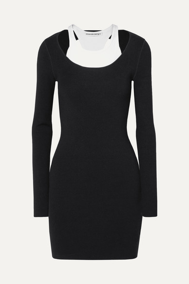 Layered Ribbed Stretch-Jersey Mini Dress in Black