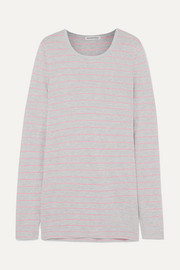 Striped slub jersey top