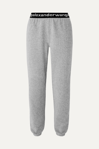 Intarsia-Trimmed Stretch Cotton-Blend Corduroy Tapered Track Pants in Gray