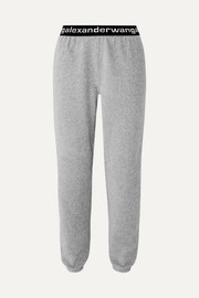 Intarsia-trimmed stretch cotton-blend corduroy tapered track pants