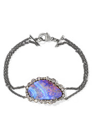 Kimberly McDonald 18-karat blackened white gold, opal and diamond bracelet