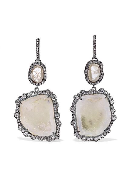18-KARAT BLACKENED WHITE GOLD, GEODE AND DIAMOND EARRINGS from NET-A-PORTER