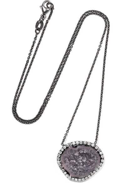 18-Karat Blackened White Gold, Geode And Diamond Necklace