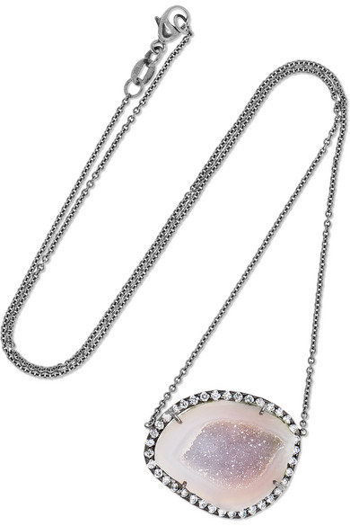 18-KARAT BLACKENED WHITE GOLD, GEODE AND DIAMOND NECKLACE from NET-A-PORTER