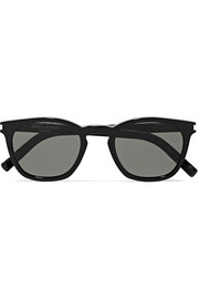 Saint Laurent Cat-eye acetate and croc-effect leather sunglasses