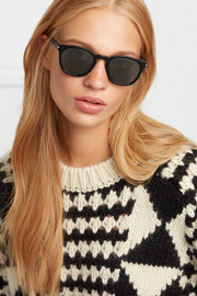 Cat-eye acetate and croc-effect leather sunglasses