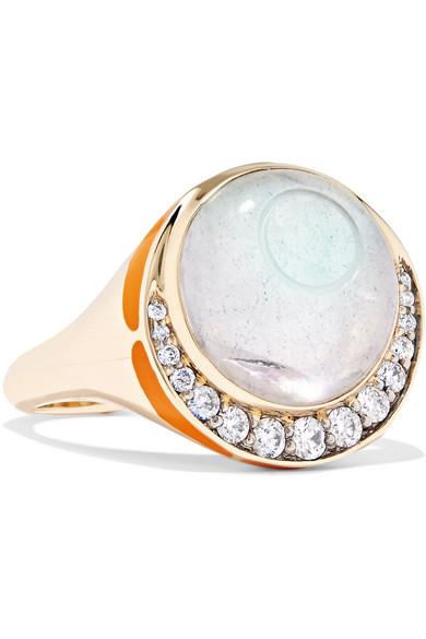 NOOR FARES Svadhisthana 18-Karat Gold, Enamel And Multi-Stone Ring