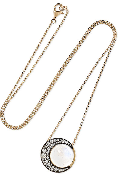 NOOR FARES Tilsam Eclipse 18-Karat Gray Gold, Moonstone And Diamond Necklace
