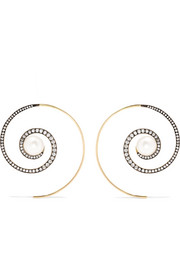 Boucles d'oreilles en or 18 carats, diamants et perles Spiral Moon