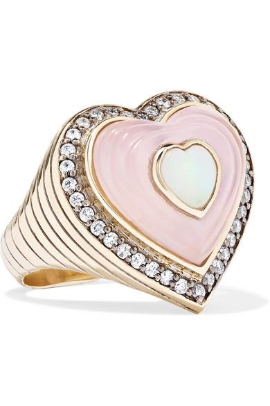 NOOR FARES Anahata 18-Karat Gray Gold Multi-Stone Ring