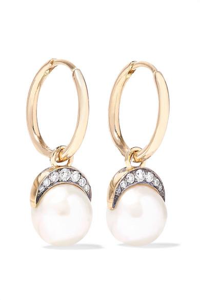 NOOR FARES Mala 18-Karat Gold, Pearl And Diamond Earrings