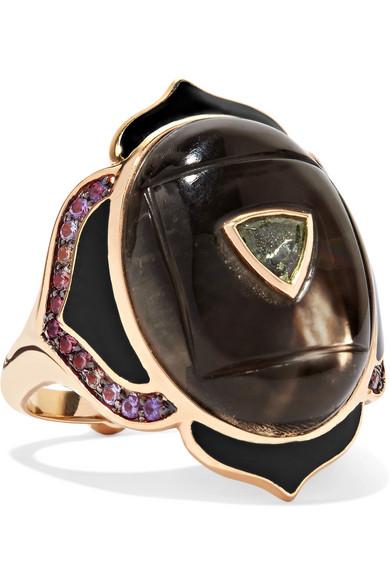 NOOR FARES Muladhara 18-Karat Gold And Enamel Multi-Stone Ring