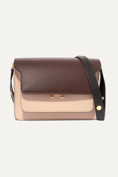 Marni Shoulder-bags Trunk medium color-block textured-leather shoulder bag