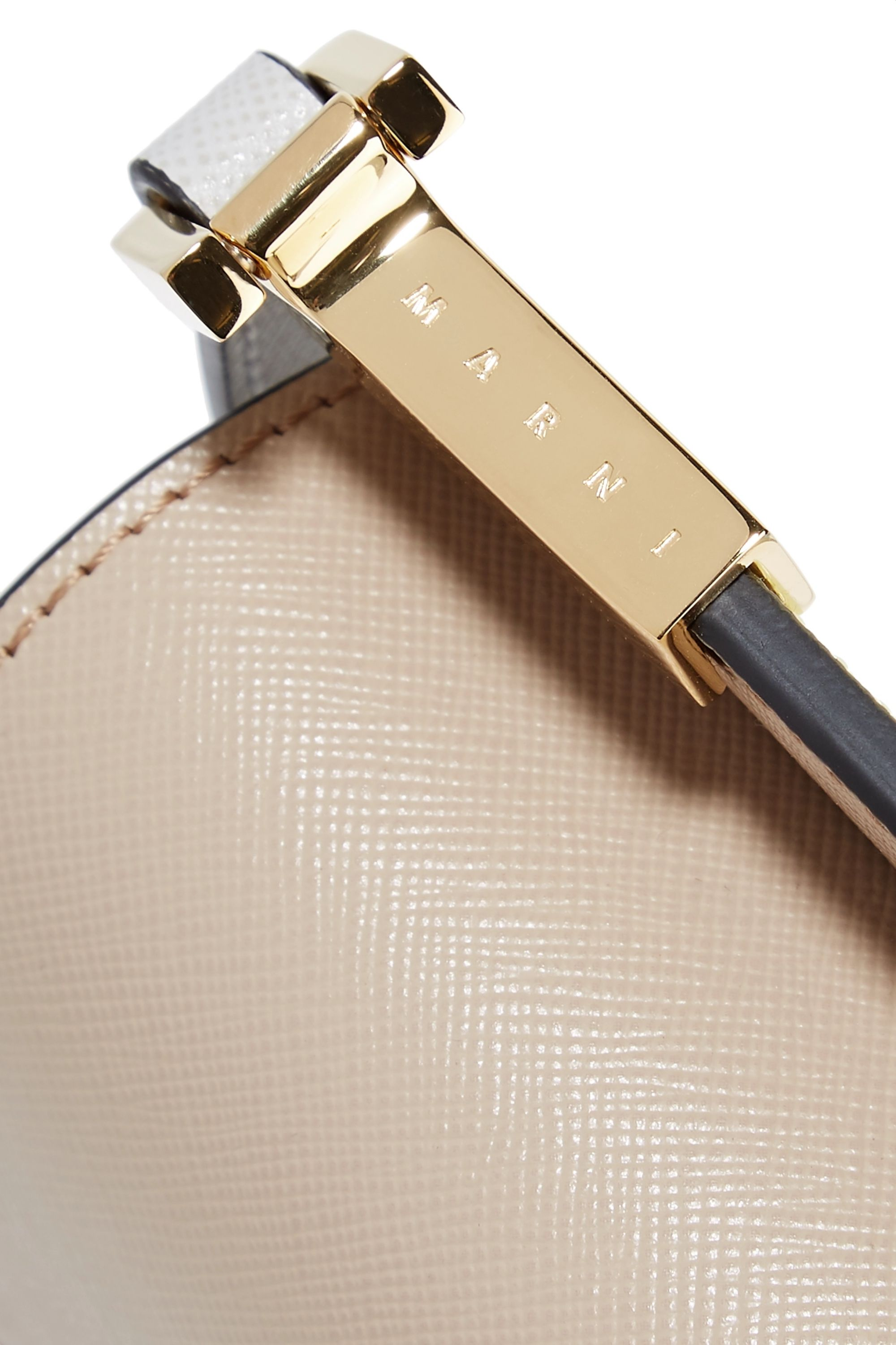Marni Trunk micro color-block textured-leather shoulder bag