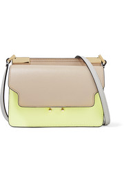 Trunk micro color-block textured-leather shoulder bag