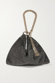 Callie crystal-embellished suede shoulder bag