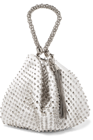Jimmy Choo Tops Callie crystal-embellished satin clutch
