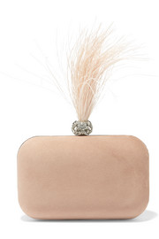 Cloud crystal and feather-embellished suede clutch