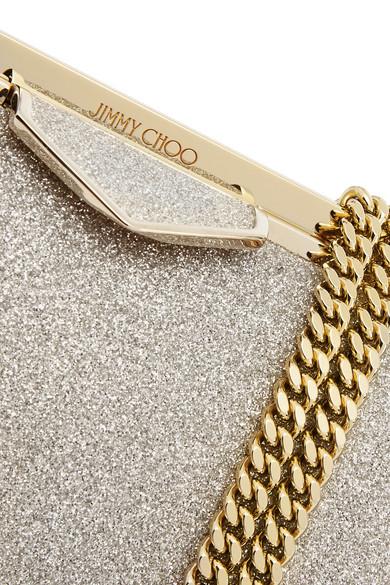 Jimmy Choo Clutch Ellipse glittered leather clutch