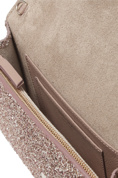 Jimmy Choo Bags Lizzie glittered leather clutch