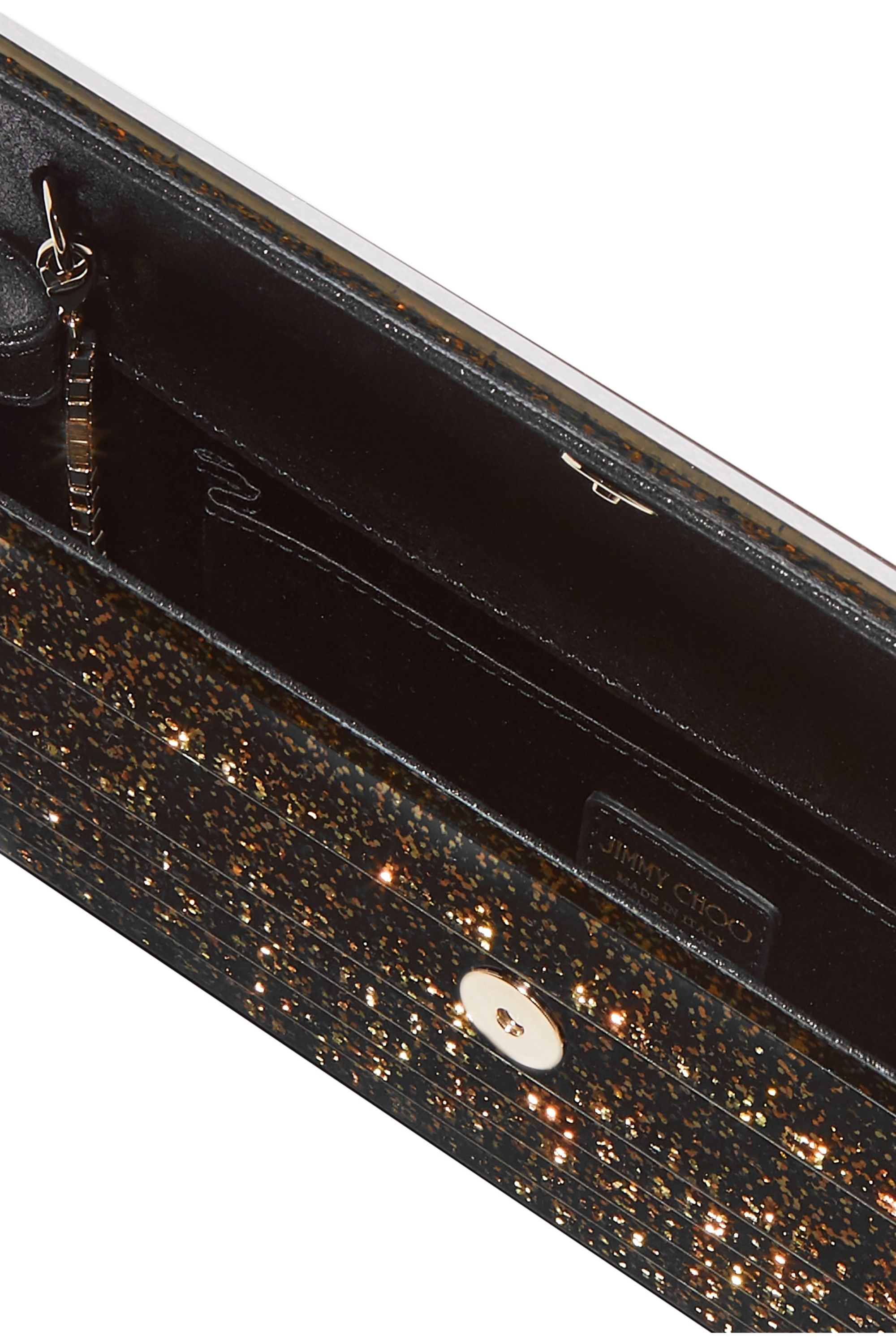 Jimmy Choo Sweetie glittered acrylic and leather clutch