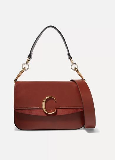 8be31d4c29 Chloé C medium suede-trimmed leather shoulder bag