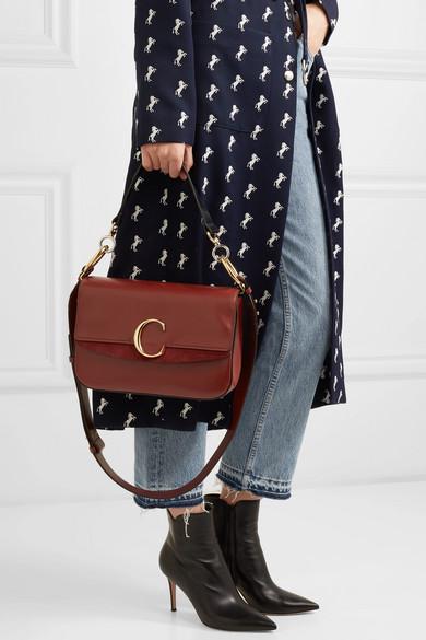 895c9ab78d Chloé | Chloé C medium suede-trimmed leather shoulder bag | NET-A ...