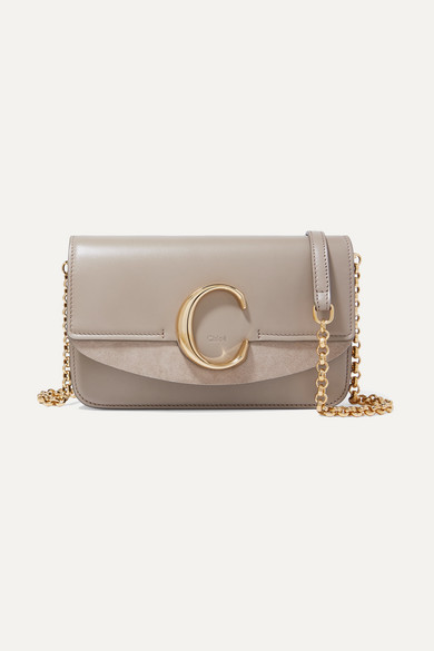 97f8d661ec170 Chloé | Chloé C mini suede-trimmed leather shoulder bag | NET-A ...