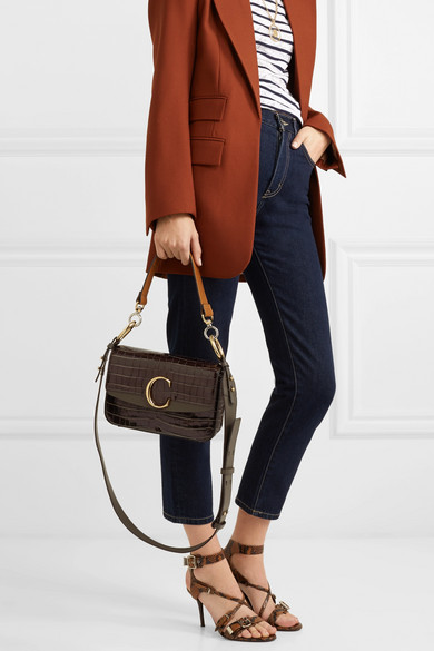 9efe4884ef Chloé | Chloé C small leather-trimmed croc-effect shoulder bag | NET ...