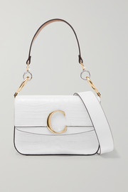 Chloé Chloé C small leather-trimmed croc-effect shoulder bag