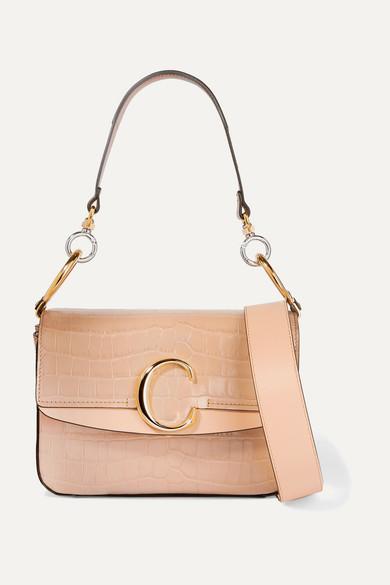 302df50c Chloé C small leather-trimmed croc-effect shoulder bag