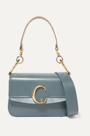 Chloé C small suede-trimmed leather shoulder bag