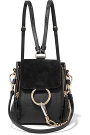 클로에 Chloe Faye mini textured-leather and suede backpack